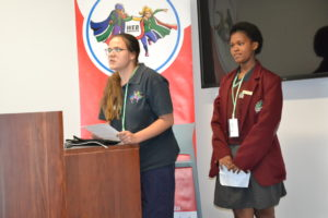 2017 Web Ranger ambassadors- Erin Mc Kay and Palisa Makhohlisa delivering a speech on their experiences as Web Rangers.